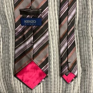 Kenzo Homme Striped Gray Purple Pink Tie